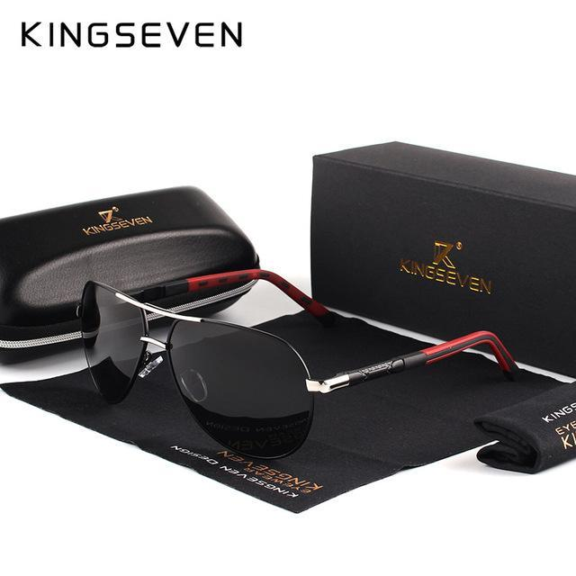 Kingseven Men Vintage Aluminum Hd Polarized Sunglasses Classic Sun Glasses-Polarized Sunglasses-Bargain Bait Box-Silver Black-Bargain Bait Box