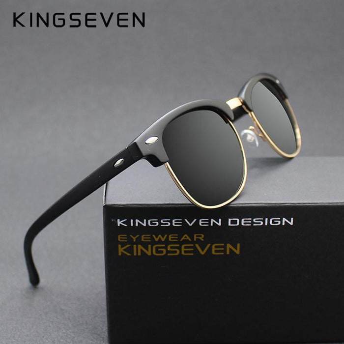 Kingseven Polarized Sunglasses Men/Women Retro Rivet Polaroid Lens Design Sun-Polarized Sunglasses-Bargain Bait Box-C01 Bright black-Bargain Bait Box