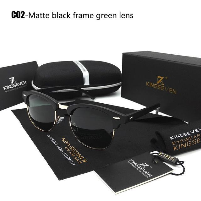 Kingseven Polarized Sunglasses Men/Women Retro Rivet Polaroid Lens Design Sun-Polarized Sunglasses-Bargain Bait Box-C02 Matte black-Bargain Bait Box