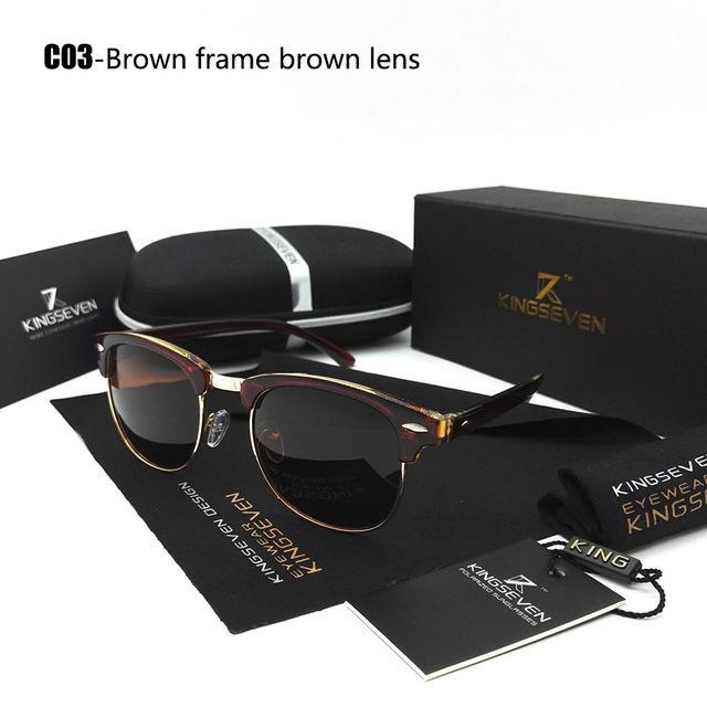 Kingseven Polarized Sunglasses Men/Women Retro Rivet Polaroid Lens Design Sun-Polarized Sunglasses-Bargain Bait Box-C03 Brown-Bargain Bait Box