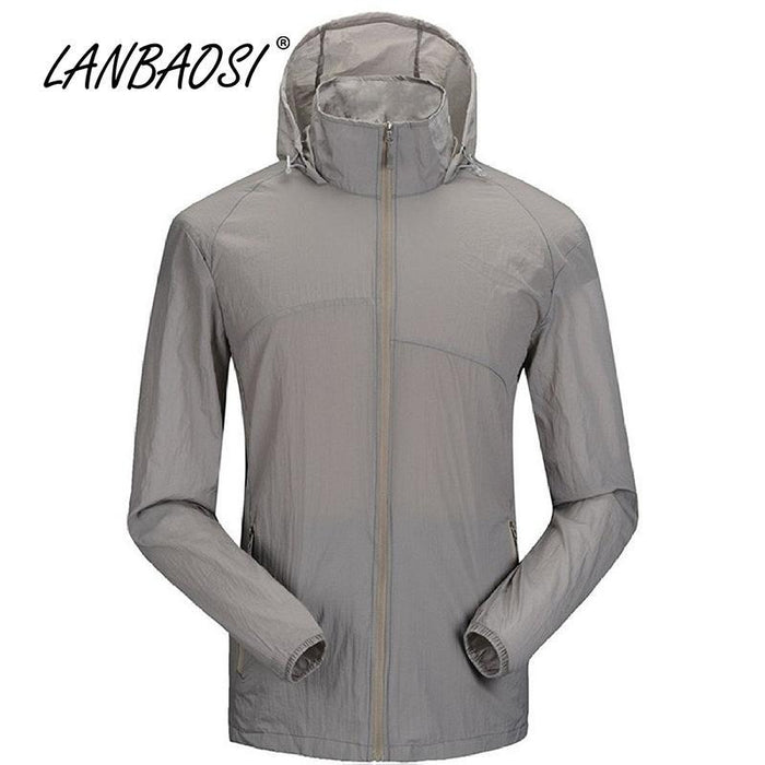 Lanbaosi Sports Men'S Jackets Hooded Waterproof Quick-Drying Sunscreen Ing-Hoodies-Bargain Bait Box-Blue-M-Bargain Bait Box