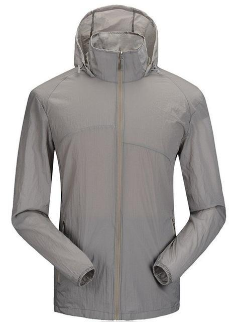 Lanbaosi Sports Men'S Jackets Hooded Waterproof Quick-Drying Sunscreen Ing-Hoodies-Bargain Bait Box-Gray-M-Bargain Bait Box