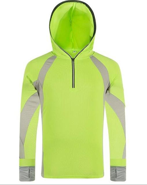 Lanbaosi Sun Uv Protection Fishing For Men Quick Dry Shirt Long Sleeve Hooded-Hoodies-Bargain Bait Box-Fluorescent green-L-Bargain Bait Box