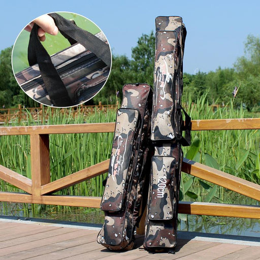 Large Capacity 80/120Cm Fishing Bag Camo Double Layer Fishing Rod Bag Fishing-Fishing Rod Bags & Cases-Bargain Bait Box-Yellow-Bargain Bait Box