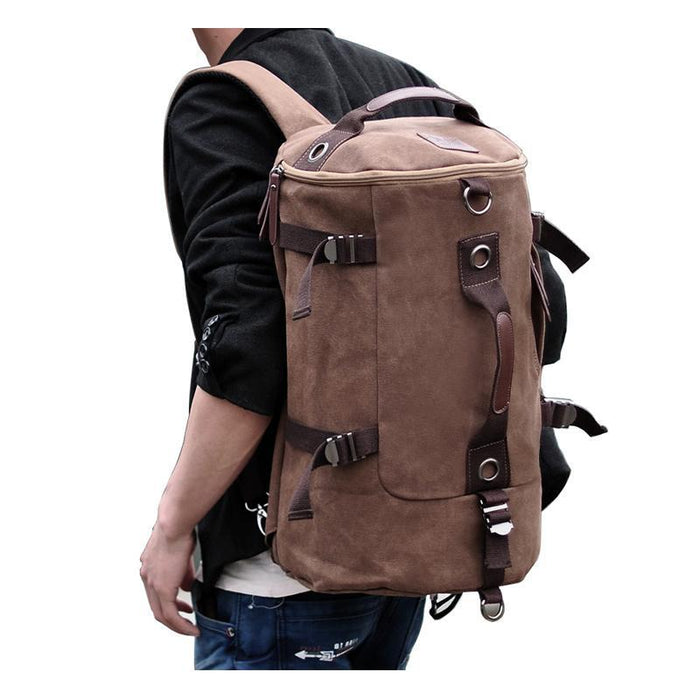 Large Capacity Canvas Round Bucket Backpack Male Mountaineering Hiking-Let's Travel Store-Black Color-Bargain Bait Box