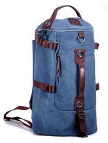 Large Capacity Canvas Round Bucket Backpack Male Mountaineering Hiking-Let's Travel Store-Blue Color-Bargain Bait Box
