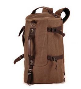 Large Capacity Canvas Round Bucket Backpack Male Mountaineering Hiking-Let's Travel Store-Coffee-Bargain Bait Box