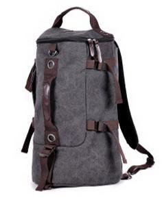 Large Capacity Canvas Round Bucket Backpack Male Mountaineering Hiking-Let's Travel Store-Gray Color-Bargain Bait Box
