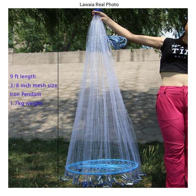 Lawaia Frisbee Throwing Hand American Fishing Network Fishing-Net- Fishing Net-Fishing Traps-Bargain Bait Box-9ft-Bargain Bait Box