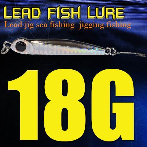 Lead Fish 8G/18G/28G/39G/60G/80G Metal Jigs With Single Hook And Rings Jigging-A Fish Lure Wholesaler-18gBlack-Bargain Bait Box
