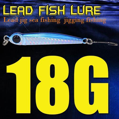 Lead Fish 8G/18G/28G/39G/60G/80G Metal Jigs With Single Hook And Rings Jigging-A Fish Lure Wholesaler-18gBlue-Bargain Bait Box