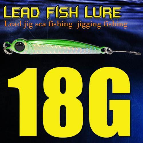 Lead Fish 8G/18G/28G/39G/60G/80G Metal Jigs With Single Hook And Rings Jigging-A Fish Lure Wholesaler-18gGreen-Bargain Bait Box
