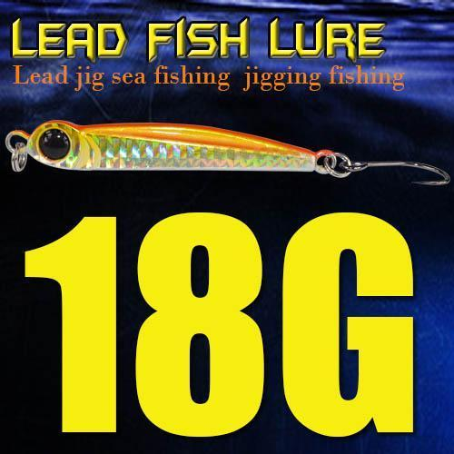 Lead Fish 8G/18G/28G/39G/60G/80G Metal Jigs With Single Hook And Rings Jigging-A Fish Lure Wholesaler-18gOrange-Bargain Bait Box