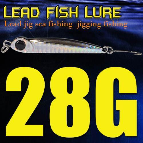 Lead Fish 8G/18G/28G/39G/60G/80G Metal Jigs With Single Hook And Rings Jigging-A Fish Lure Wholesaler-28gBlack-Bargain Bait Box