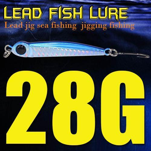 Lead Fish 8G/18G/28G/39G/60G/80G Metal Jigs With Single Hook And Rings Jigging-A Fish Lure Wholesaler-28gBlue-Bargain Bait Box