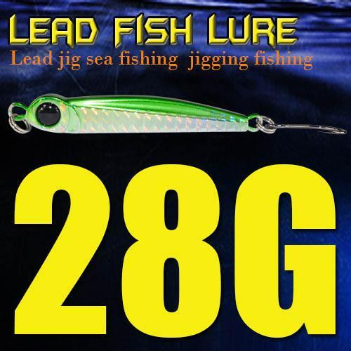Lead Fish 8G/18G/28G/39G/60G/80G Metal Jigs With Single Hook And Rings Jigging-A Fish Lure Wholesaler-28gGreen-Bargain Bait Box