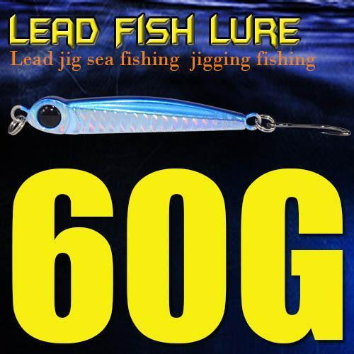 Lead Fish 8G/18G/28G/39G/60G/80G Metal Jigs With Single Hook And Rings Jigging-A Fish Lure Wholesaler-60gBlue-Bargain Bait Box