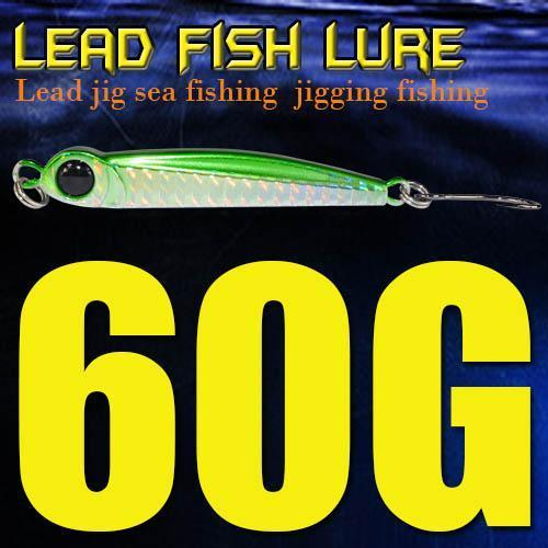 Lead Fish 8G/18G/28G/39G/60G/80G Metal Jigs With Single Hook And Rings Jigging-A Fish Lure Wholesaler-60gGreen-Bargain Bait Box