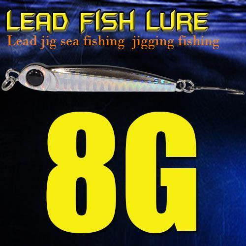 Lead Fish 8G/18G/28G/39G/60G/80G Metal Jigs With Single Hook And Rings Jigging-A Fish Lure Wholesaler-8gBlack-Bargain Bait Box