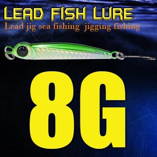 Lead Fish 8G/18G/28G/39G/60G/80G Metal Jigs With Single Hook And Rings Jigging-A Fish Lure Wholesaler-8gGreen-Bargain Bait Box