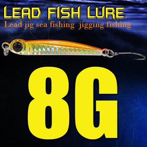 Lead Fish 8G/18G/28G/39G/60G/80G Metal Jigs With Single Hook And Rings Jigging-A Fish Lure Wholesaler-8gOrange-Bargain Bait Box