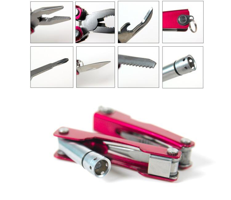 Led Flashlight Wire Cutter Serrated Knife Swiss Tech Mini Edc Multi-Tool Folding-NanYou Outdoor Camping Supplies Store-Red-Bargain Bait Box