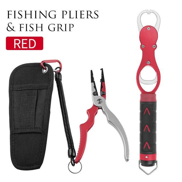 Linnhue Aluminum Alloy Fishing Grip Pliers Stainless Steel Fish Gripper Hook-Fishing Tools-Linnhue Fishing Store-Red set-Bargain Bait Box