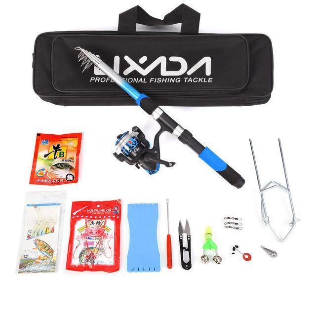 Lixada Telescopic Fishing Rod Reel Combo Full Kit Spinning Reel Pole Set With-LIXADA Official Store-Blue-Bargain Bait Box