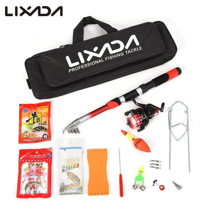 Lixada Telescopic Fishing Rod Reel Combo Full Kit Spinning Reel Pole Set With-LIXADA Official Store-Red-Bargain Bait Box