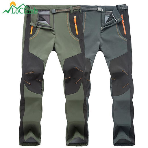 Loclimb Men Women Winter Camping Hiking Pants Outdoor Sport Softshell Warm-LoClimb Store-men army green-Asian Size S-Bargain Bait Box