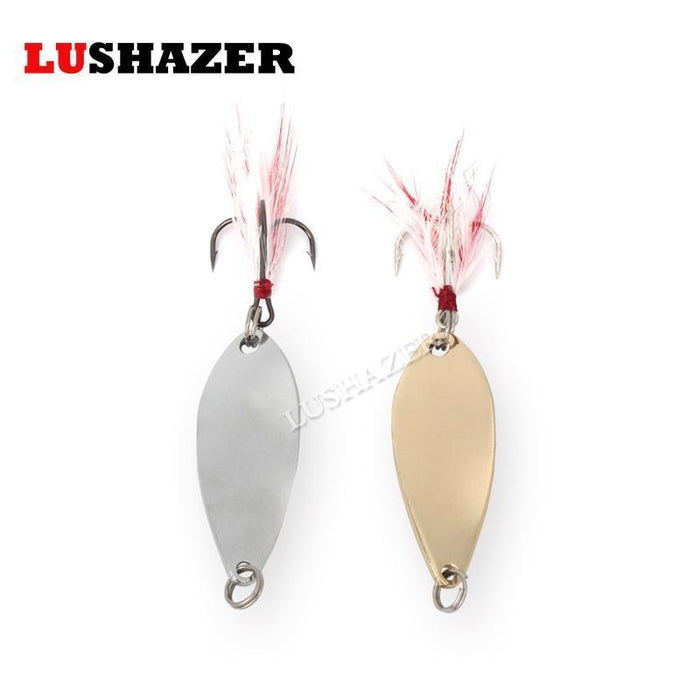Lushazer Metal Fishing Lure Spoon Spinner Bait 6G 10G Gold/Silver 360 Degree-LUSHAZER Official Store-6g Silvery-Bargain Bait Box