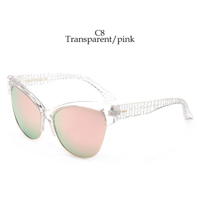 Luxury Sexy Cat Eye Sunglasses Women Vintage Retro Camouflage Uv400 Eyewear-Sunglasses-A&Q Store-clear-pink-Bargain Bait Box