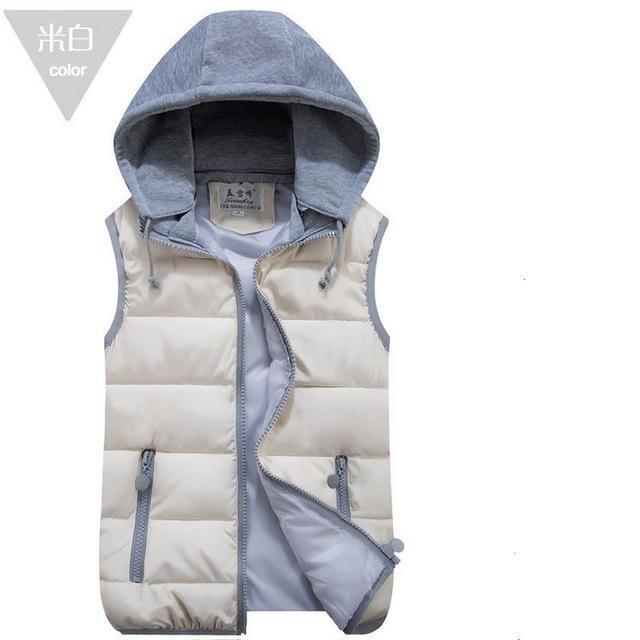 Lzj Women Cotton Wool Collar Hooded Down Vest Removable Hat Female Thicken-Vests-Bargain Bait Box-Beige-S-Bargain Bait Box
