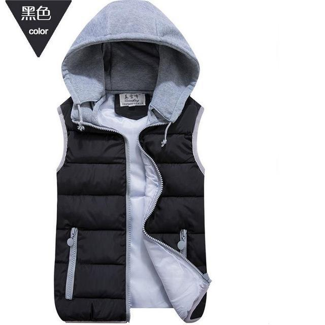 Lzj Women Cotton Wool Collar Hooded Down Vest Removable Hat Female Thicken-Vests-Bargain Bait Box-black-S-Bargain Bait Box