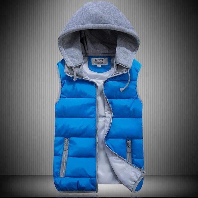 Lzj Women Cotton Wool Collar Hooded Down Vest Removable Hat Female Thicken-Vests-Bargain Bait Box-blue-S-Bargain Bait Box