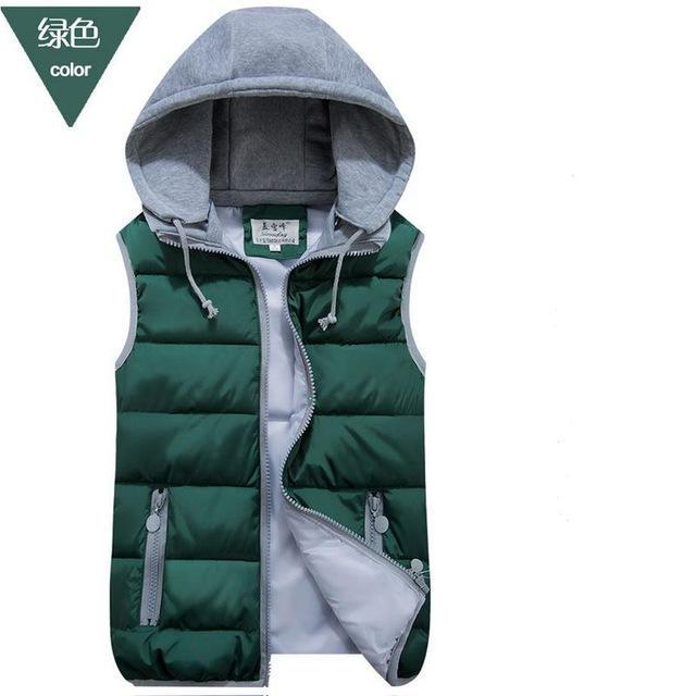 Lzj Women Cotton Wool Collar Hooded Down Vest Removable Hat Female Thicken-Vests-Bargain Bait Box-green-S-Bargain Bait Box