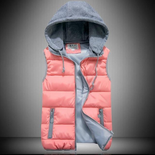 Lzj Women Cotton Wool Collar Hooded Down Vest Removable Hat Female Thicken-Vests-Bargain Bait Box-pink-S-Bargain Bait Box
