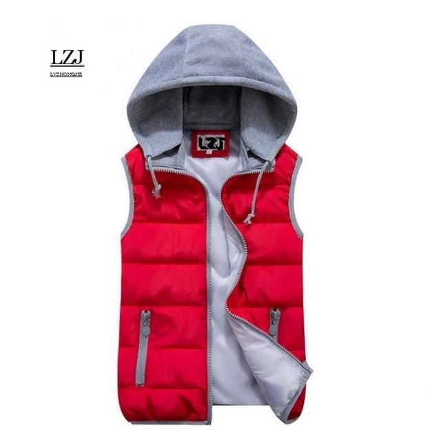 Lzj Women Cotton Wool Collar Hooded Down Vest Removable Hat Female Thicken-Vests-Bargain Bait Box-red-S-Bargain Bait Box