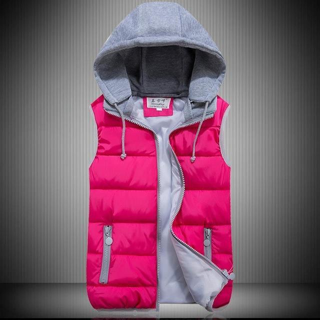 Lzj Women Cotton Wool Collar Hooded Down Vest Removable Hat Female Thicken-Vests-Bargain Bait Box-rose red-S-Bargain Bait Box