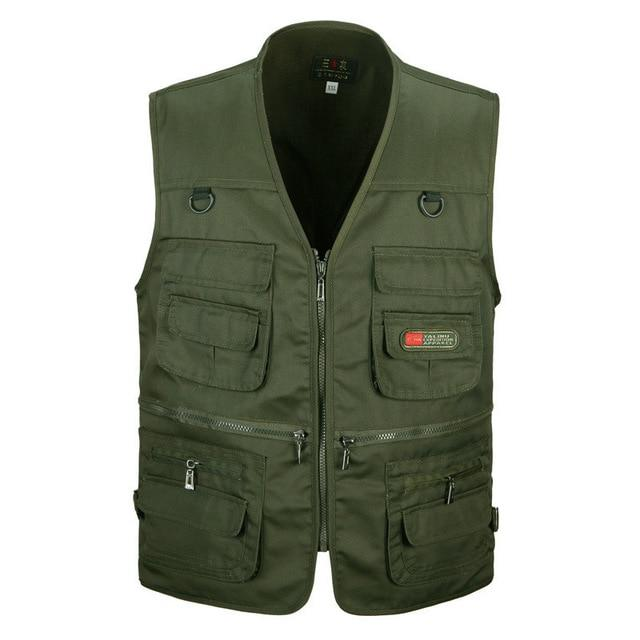 Male Vest Men Fashion Cotton Sleeveless Jackets Black Casual Fishing Vests-Vests & Waistcoats-Coolmen Store-Army green-XL-Bargain Bait Box