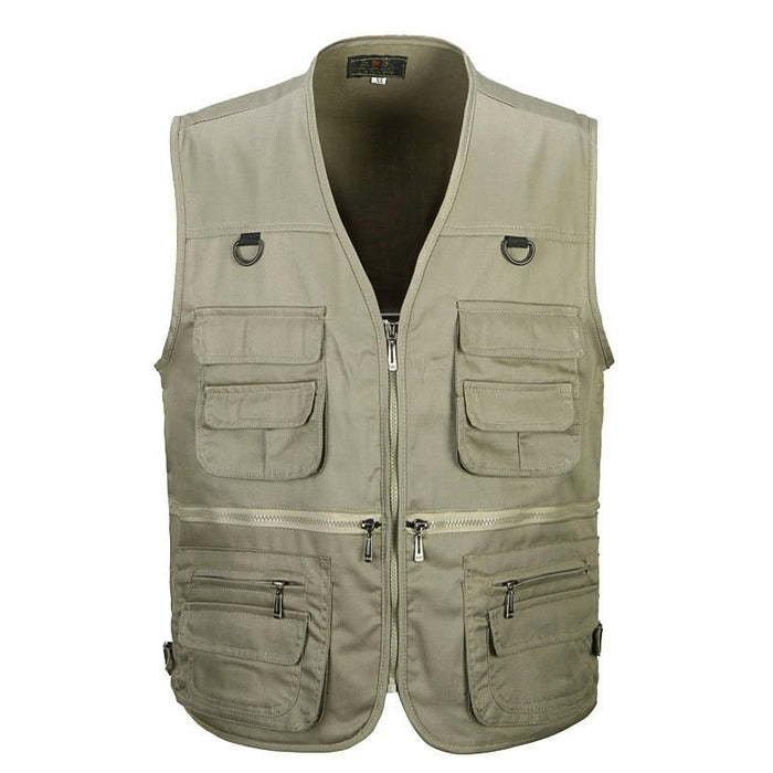 Male Vest Men Fashion Cotton Sleeveless Jackets Black Casual Fishing Vests-Vests & Waistcoats-Coolmen Store-Black-XL-Bargain Bait Box