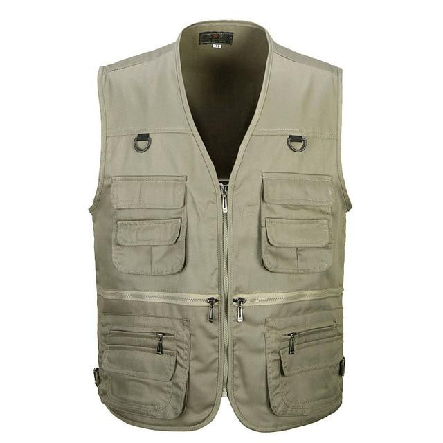 Male Vest Men Fashion Cotton Sleeveless Jackets Black Casual Fishing Vests-Vests & Waistcoats-Coolmen Store-Khaki-XL-Bargain Bait Box