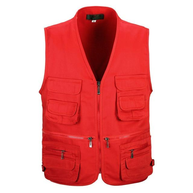 Male Vest Men Fashion Cotton Sleeveless Jackets Black Casual Fishing Vests-Vests & Waistcoats-Coolmen Store-Red-XL-Bargain Bait Box