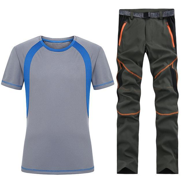 Man Fishing Trekking Camping Quick Dry T-Shirt Sport Pant Suit Running-Fishing Suits-Bargain Bait Box-As shown in figure 2-S-Bargain Bait Box