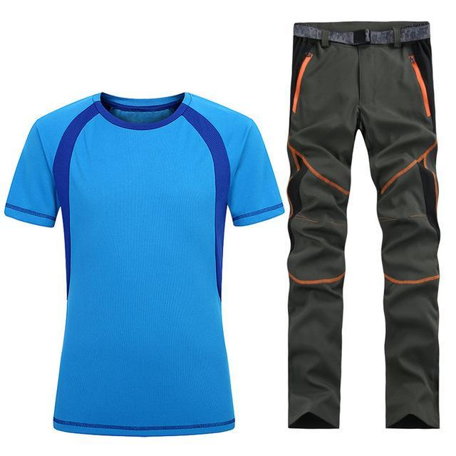 Man Fishing Trekking Camping Quick Dry T-Shirt Sport Pant Suit Running-Fishing Suits-Bargain Bait Box-As shown in figure 5-S-Bargain Bait Box