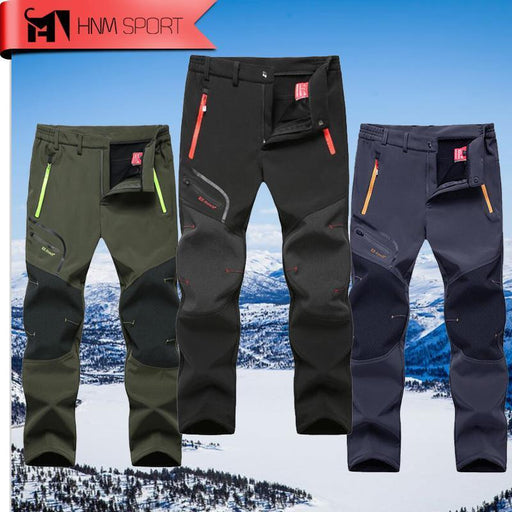 Man Warm Winter Waterproof Fishing Trouser Trekking Hiking Pants Softshell-fishing pants-Hanuman Store-Black-L-Bargain Bait Box