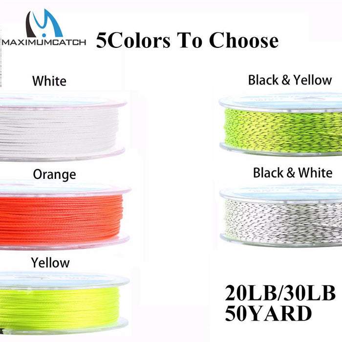 Maximumcatch 20Lb 50Yards Backing Line Multi Color Braided Fly Fishing Line-MAXIMUMCATCH Fishing Solution Store-Yellow and Black-Bargain Bait Box