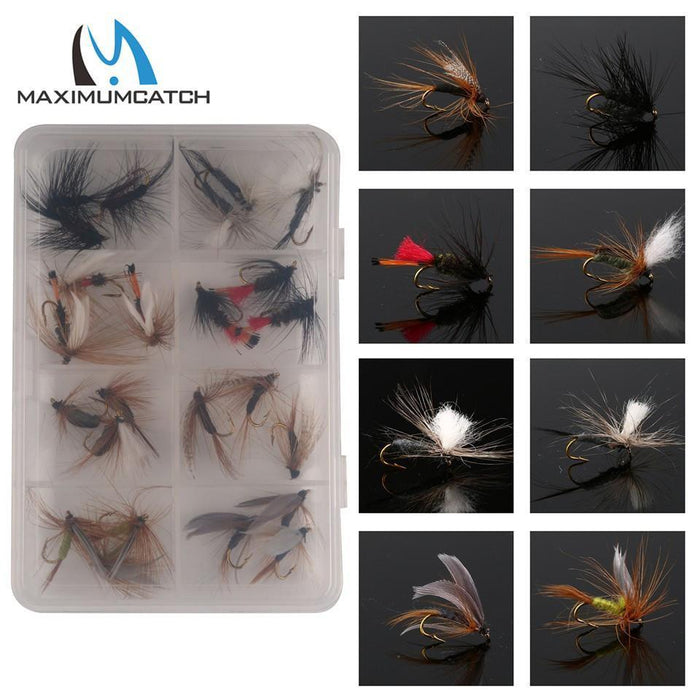 Maximumcatch 24Pieces Mixed Dry Flies Pack/Set Feather Bait Hook Fly Flies-MAXIMUMCATCH Fishing Solution Store-Bargain Bait Box