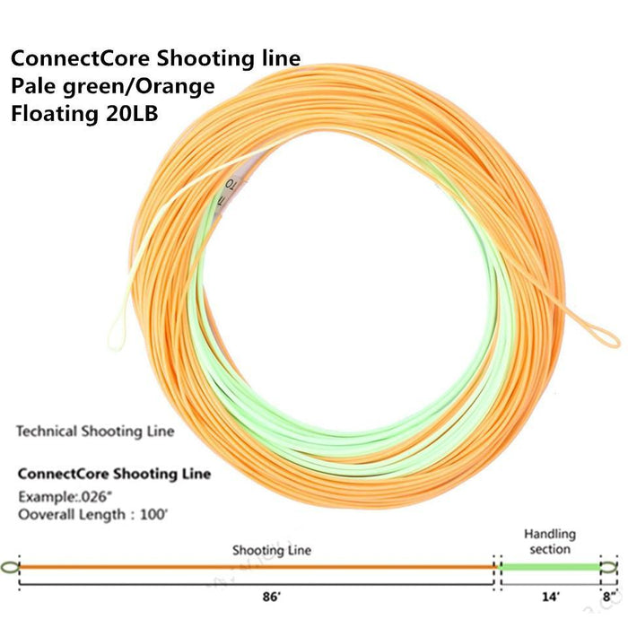 Maximumcatch Connectcore Shooting Line 100Ft 20Lb/30Lb Double Color Floating-MAXIMUMCATCH Fishing Solution Store-30LB-Bargain Bait Box