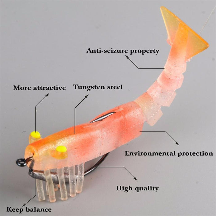 Maximumcatch Soft Shrimp 2Pcs Fishing Lure Silicone Simulation Fishing Soft-MaxCatch Outdoor-Color 01-Bargain Bait Box